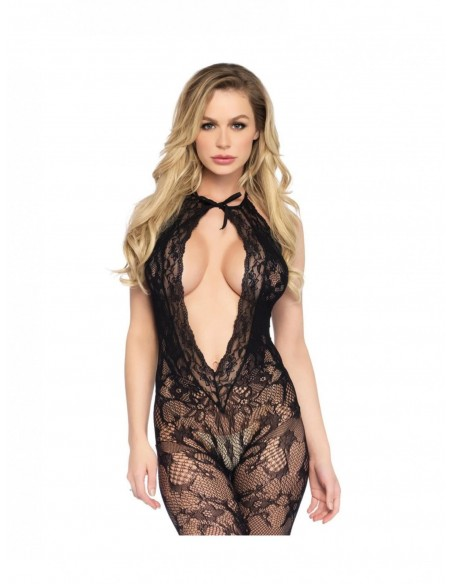 Leg avenue - bodystocking premium con scollo profondo in Nero